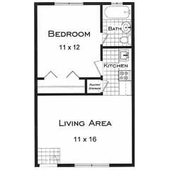One bedroom one bath apartments for rent near the University of Colorado. This is the Alpine Floor Plan
