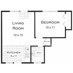 Boulder CO one bedroom apartments. This is the Cascade Floor Plan