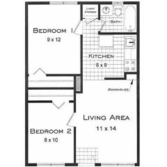 Boulder CO two bedroom apartment rentals. This is the Sierra Floor Plan.