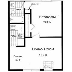 Boulder CO one bedroom apartment rentals. This is the Tahoe Floor Plan.