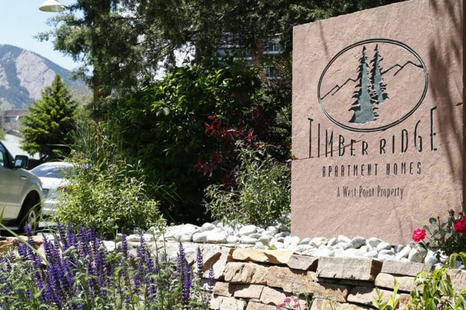 Photo of the entrance to Timer Ridge Apartment Homes in Boulder CO
